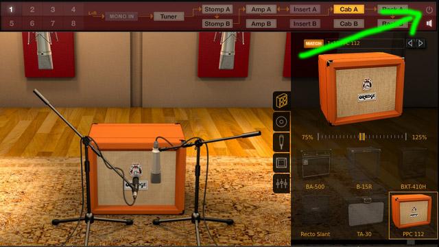 Amplitube Orangeのキャビネットをバイパスするイメージ