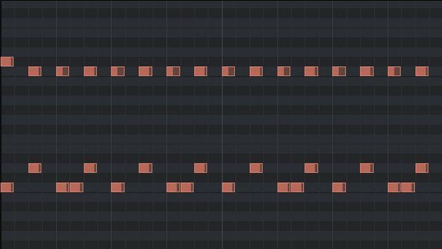 2ビートの打ち込みのピアノロール