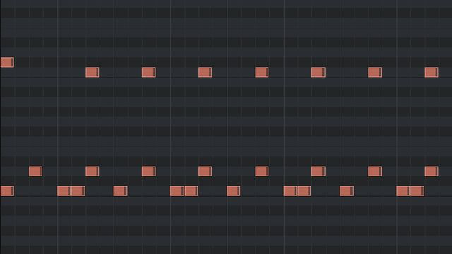 2ビートの打ち込みのピアノロール(ハイハット省略パターン)