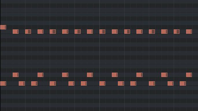 2ビートの打ち込みのピアノロール(パンク風)