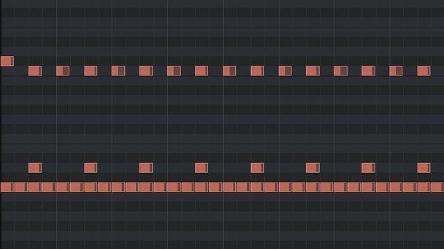 2ビートの打ち込みのピアノロール(メタル風)