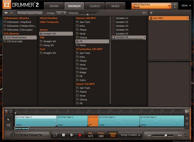 EZ Drummerのブラウザ画面