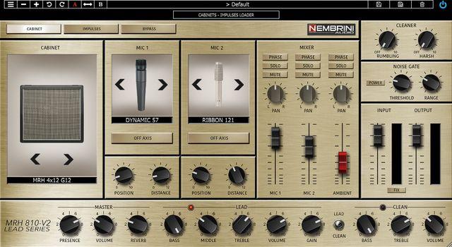 Nembrini Audio MRH810-V2のキャビネットシミュレーター画面